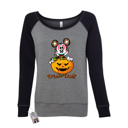 Womens Off Shoulder Sweater Trick Or Treat Halloween Mickey - Mickey Treat Bags