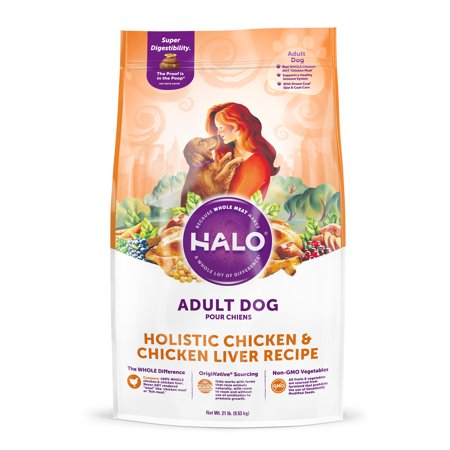 Halo Natural Dry Dog Food, Chicken & Chicken Liver Recipe, 21-Pound (Best Dog Food For Dogs With Liver Disease)