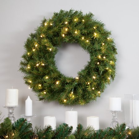 national tree 24 norwood fir wreath with 50 warm white battery operated led lights with