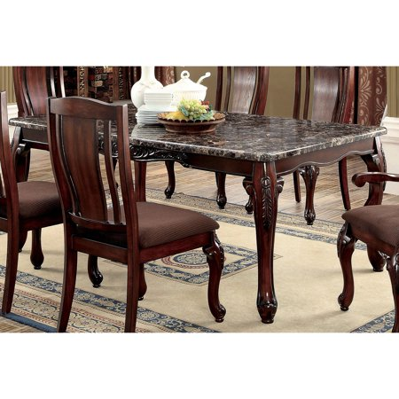 Furniture of america hannel traditional floral carved faux marble