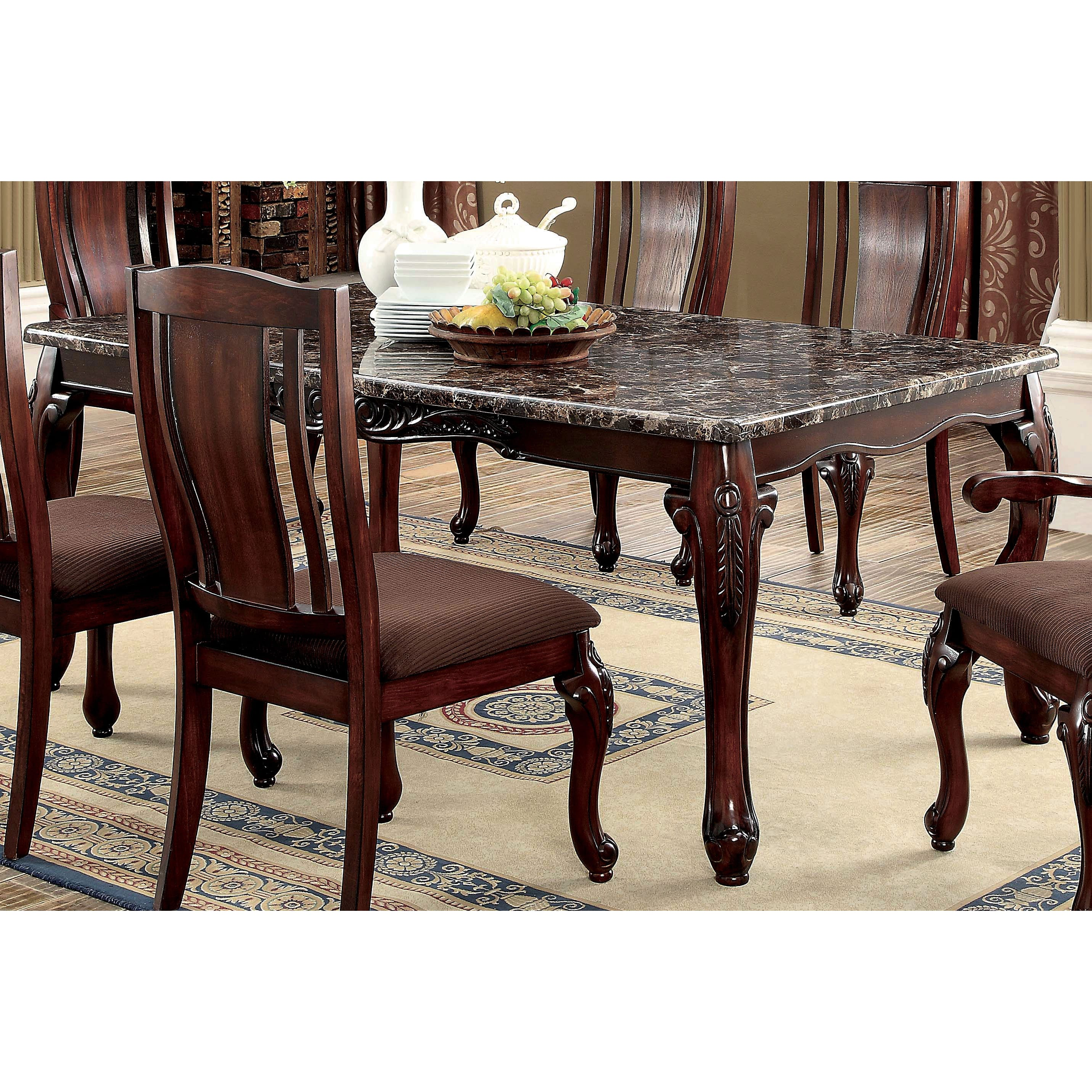 Furniture Of America Hannel Traditional Floral Carved Faux Marble Brown  Cherry Dining Table   Cherry Brown