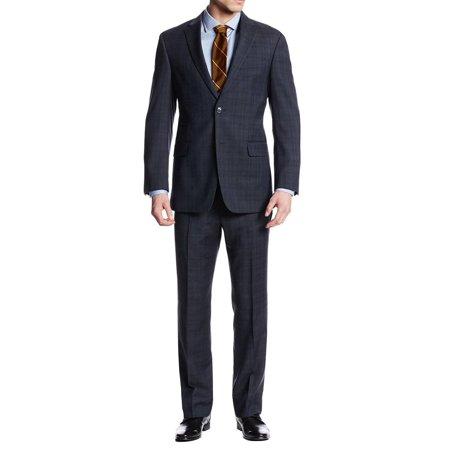 LN LUCIANO NATAZZI Two Button Men's Suit Nathan Plaid Trim-Fit Blazer Two Piece Navy Blue Plaid Blazer