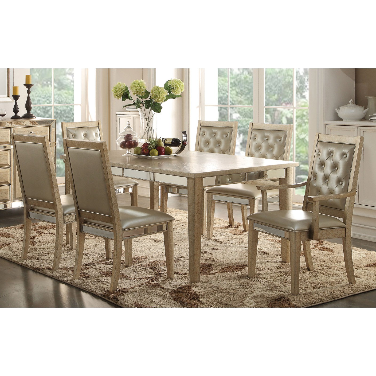 Acme Furniture Voeville Extended Dining Table - Antique Gold