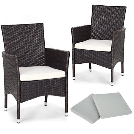 Gymax 2PC Patio Rattan Wicker Dining Chairs Set Mixbrown With 2 Set Cushion Covers ()