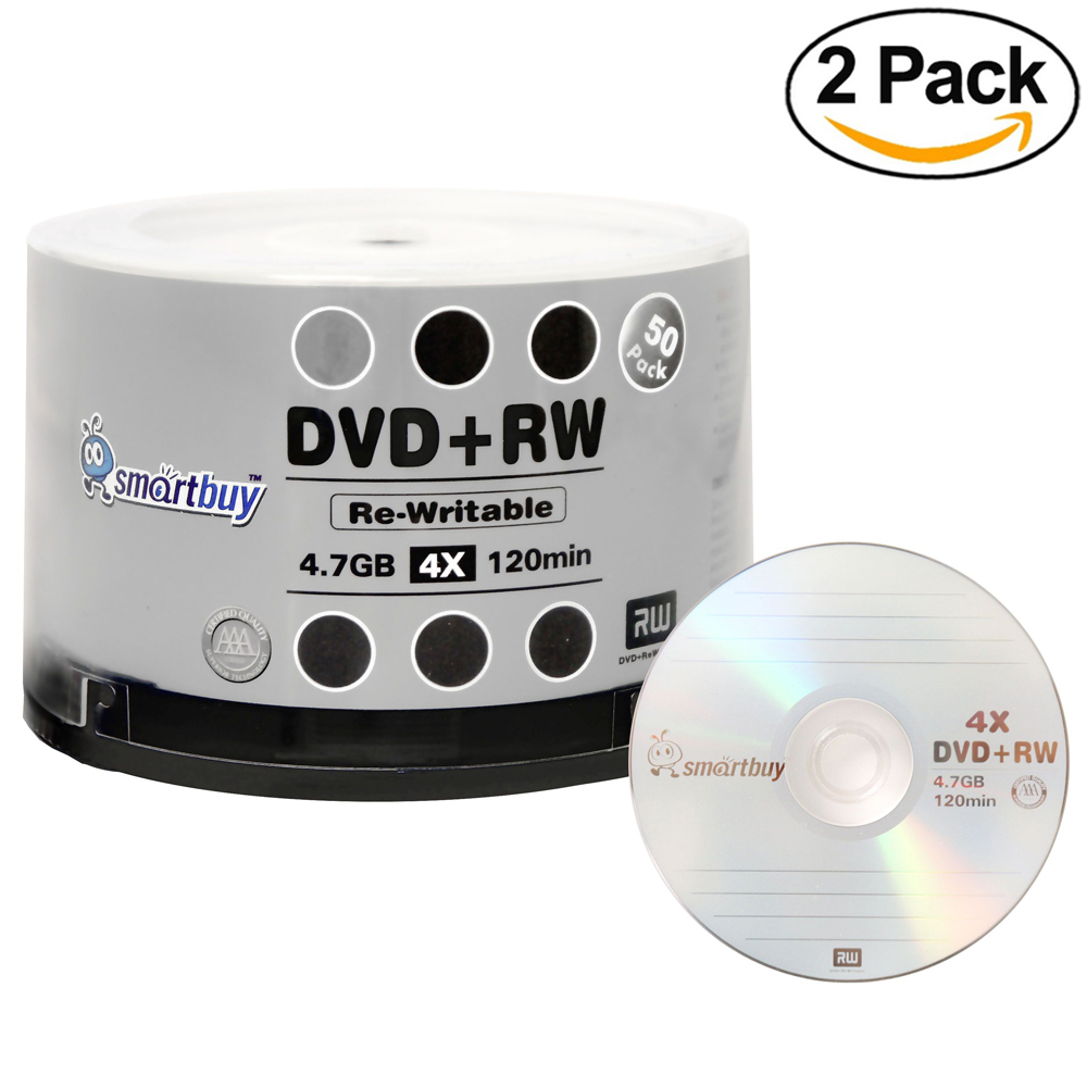 100 Pack Smartbuy Blank DVD+RW 4x 4.7GB 120Min Branded Logo Rewritable DVD Media Disc