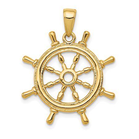 14K Yellow Gold Ship Wheel Pendant - image 2 de 2