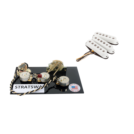 dimarzio true velvet pickup set, white for fender stratocaster + wiring  harness