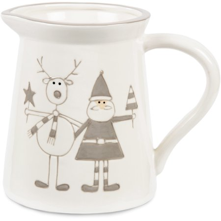 Pavilion - Gray Santa and Reindeer 5.75 Inch Ceramic Christmas Pitcher