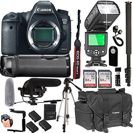 Canon EOS 6D Mark II Body Only + 128GB Memory + Canon Deluxe Camera Bag + Pro Battery Bundle + Power Grip + Microphone + TTL Speed Light (20pc
