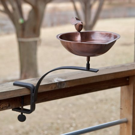 Heart Shaped Bird Bath with Deck Mount Bracket