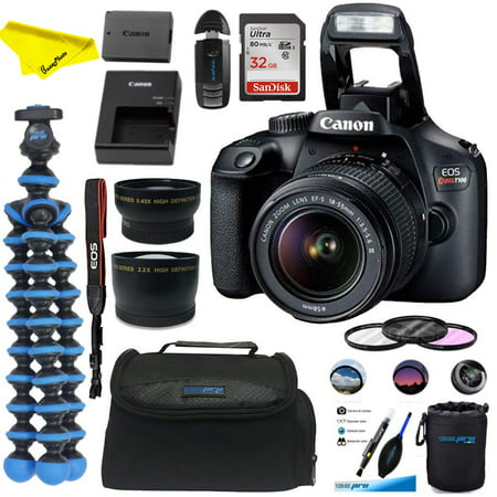 Canon EOS Rebel T100 Digital SLR Camera with 18-55mm Lens Kit + 32GB SD Card +Buzz-Photo Essential Bundle