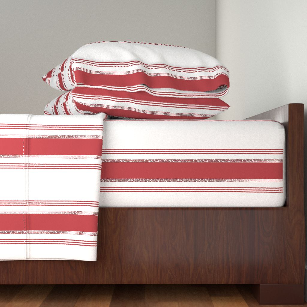 French Stripe Ticking Red Decor 100% Cotton Sateen Sheet Set by Roostery