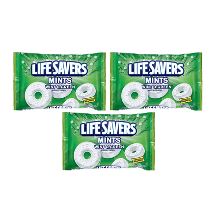 (3 Pack) Life Savers, Wint-O-Green Mints Candy, 13 - Life Saver Gummies