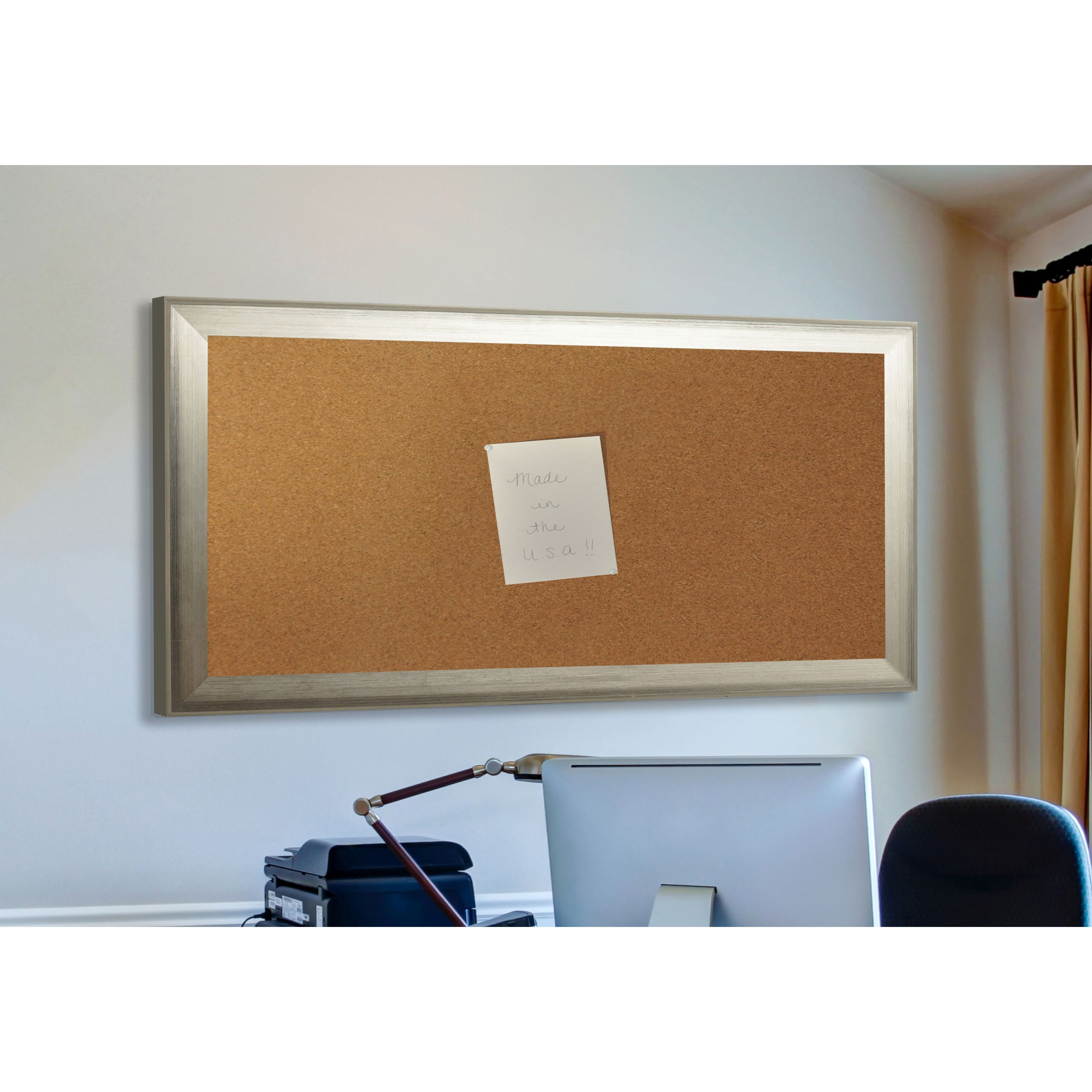 Rayne Mirrors American Made Rayne Brushed Silver Corkboard
