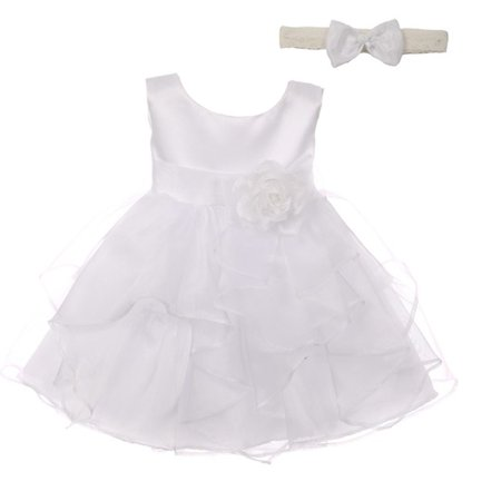 Good Girl Baby Girls White Satin Organza Sleeveless Flower Girl Dress - White Toddler Dress