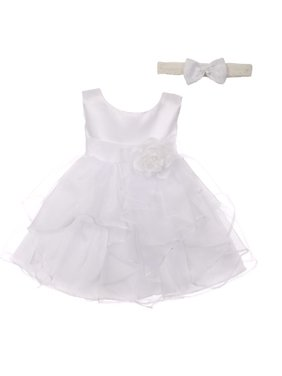 ea6471dd8d8 Product Image Good Girl Baby Girls White Satin Organza Sleeveless Flower Girl  Dress