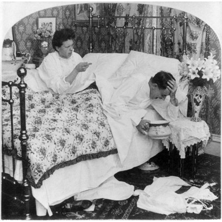 Couple In Bed C1907 Na Woman Talking To Her Husband Who Holds His Head Over A Bedpan With The Caption I Tell You WomanS Suffrage Would Strengthen The Solar Plexus Of The World American Stereograph C19 ()