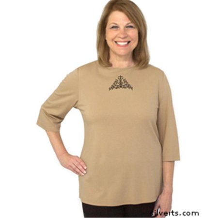 Silverts 247000601 Womens Adaptive Top - Clothing For Disabled Adults - Small, Taupe