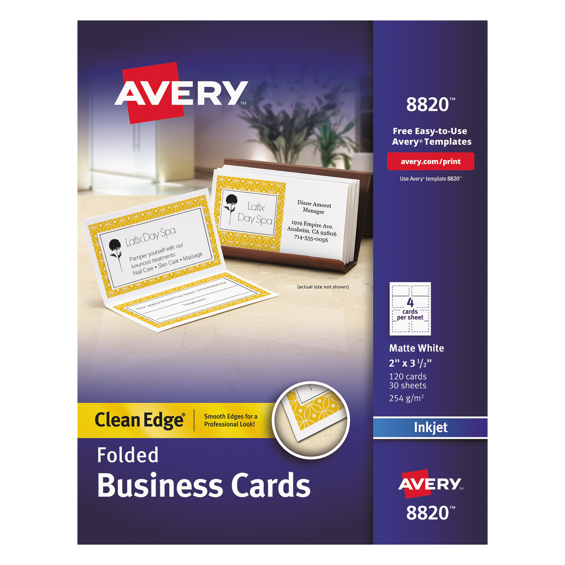 Avery Folded Clean Edge Business Cards, Inkjet, 2 x 3 1/2, White, 120/Box