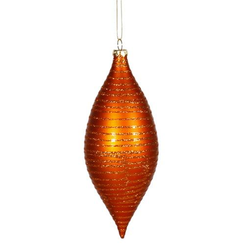 """Burnished Orange Matte Glitter Stripes Shatterproof Christmas Drop Ornament 7"""""""