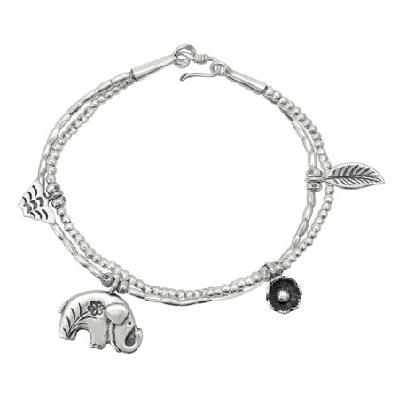 Hill Tribe Silver Circle - Majestic Jungle Elephant Thai Hill Tribe Silver Charm Bracelet