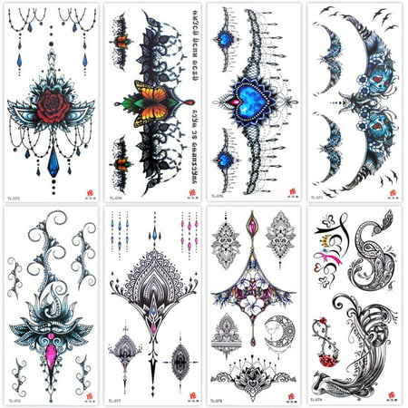 Lady Up 8 Sheets Temp Body Art Lower Back Temporary Tattoos Fantasy Fake Tattoo for Women Girls Adult Butterfly Flower Waterproof