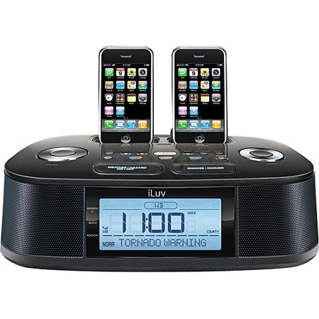iluv dual alarm clock radio w dual dock for ipod iphone. Black Bedroom Furniture Sets. Home Design Ideas
