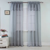 Gretchen 54 x 90 in. Rod Pocket Single Curtain Panel w./ Attached 18 in. Valance, White