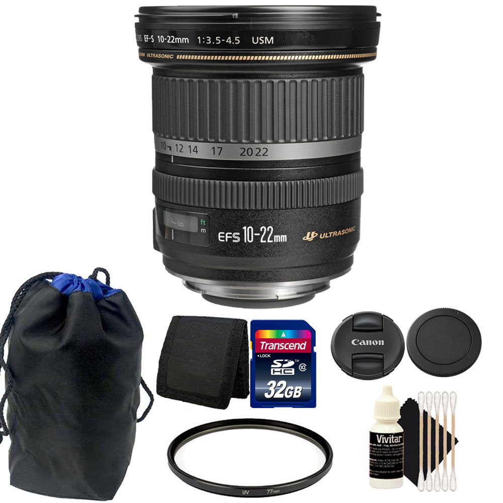 Canon EF-S 10-22mm f/3.5-4.5 USM Lens 32GB Accessory Kit ...