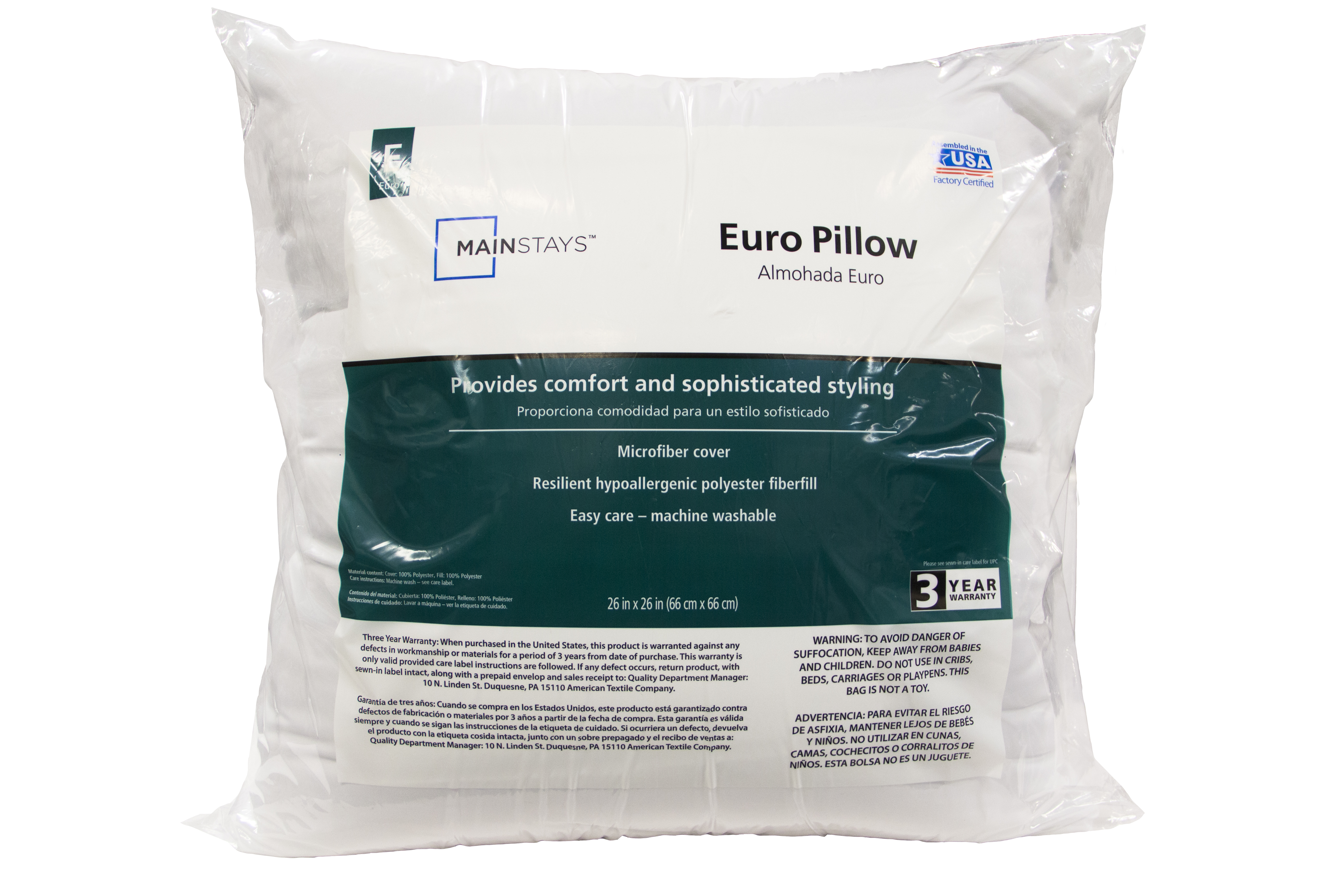 Mainstays Euro Pillow, 3-Year Warranty, Machine Washable (26 x 26) by American Textile Company