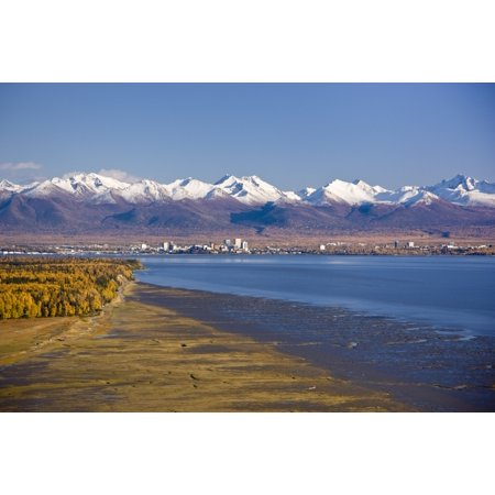 Aerial View Of The Anchorage Skyline Looking Southeast From Point Mackenzie Over Knik Arm With The Chugach Mountains In The Background During Fall Southcentral Alaska Canvas Art - Kevin Smith  Design (Frauen In Anchorage)