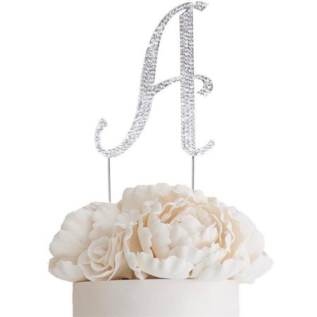 "Efavormart 4.5"" Bedazzling Rhinestone Letter Cake Toppers For Wedding Birthday Party Special Event Personalized Decorations"