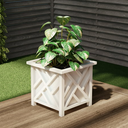 Plant Pot Holder, Planter Container Box by Pure Garden, White Extra Large Plant