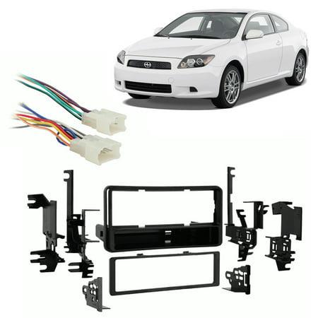 Fits Scion tC 2005-2010 Single DIN Aftermarket Harness Radio Install Dash Kit (2005 Scion Tc Stereo Dash Kit)