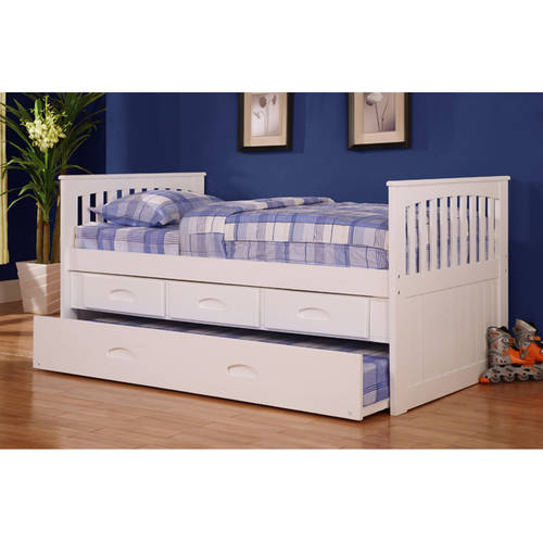 American Furniture Classics Twin size Rake Bed with pull out Trundle and Three spacious storage drawers in a casual white finish