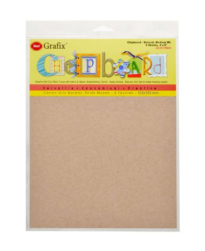 Grafix Medium Weight 4 Inch by 6 Inch Chipboard Sheets, Natural 6/Package Multi-Colored