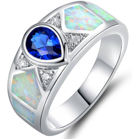 Blue Spinel and Lab Created Fire Opal 18kt White Gold-Plated Ring