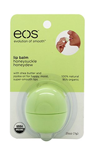 "EOS Lip Balm Ingredients The company says that EOS lip balms are 95 % organic, hypoallergenic, % natural, paraben and petrolatum free. They are packed with antioxidant-rich vitamin E, soothing shea butter and jojoba oil which helps to keep your lips soft and ""sensationally smooth""."