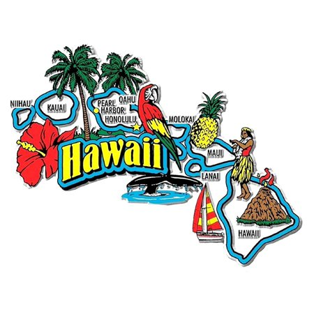 - Hawaii Jumbo State Map Fridge Magnet