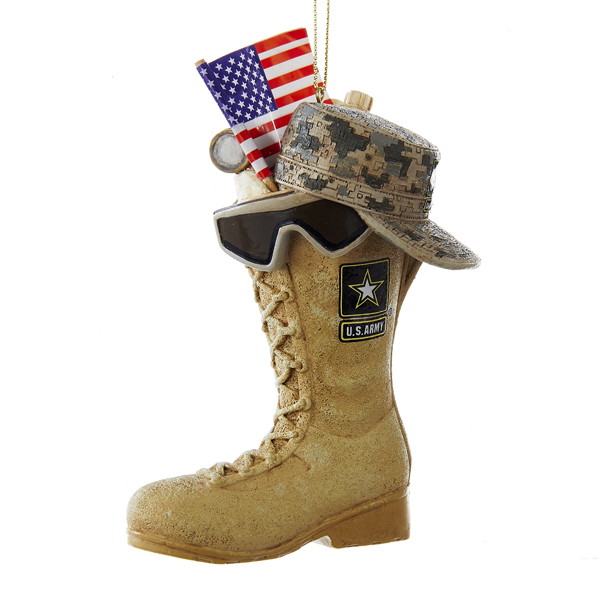 "Kurt Adler 4.75"" Army Boot With Usa Flag+Icons Ornament"