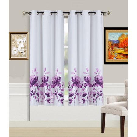 "2-Piece FLOWER PURPLE Printed Lined Blackout Grommet Window Curtain Treatment, Set of Two (2) Floral Pattern Room Darkening Panels 37"" Wide x 63"" Length (Each)"