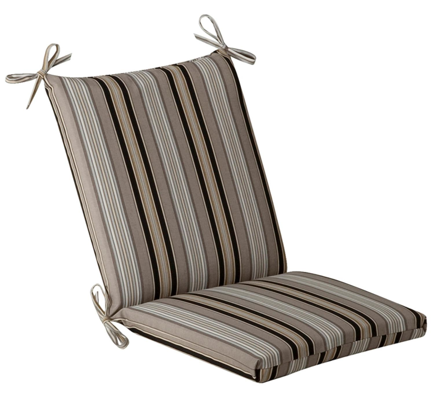 Outdoor Patio Furniture Mid Back Chair Cushion Black & Tan Striped Voyage by CC Home Furnishings