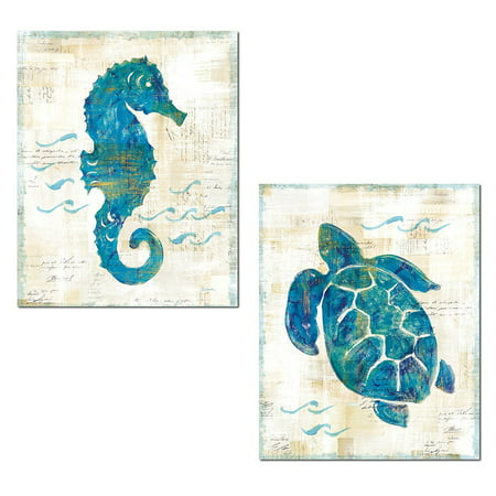 - Lovely Nautical Turquoise and Cream Turtle and Seahorse Ocean Set by Sue Schlabach; Coastal Decor; Two 14x11in Unframed Paper Posters