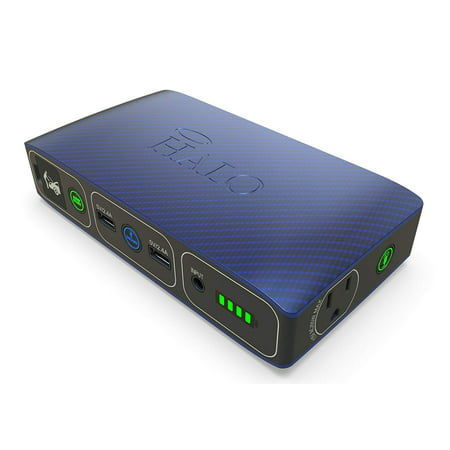 Halo Bolt 58830 Mwh Portable Phone Laptop Charger Car Jump Starter with AC Outlet - Blue Graphite Unitrack Starter Set