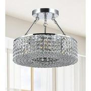 The Lighting Store Francisca 3-light Round Chrome Semi Flush Chandelier
