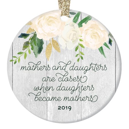 Mothers & Daughters Christmas Ornament, Gift for Mom or Daughter In Law, Ceramic Woodgrain Rustic Farmhouse Xmas Tree New Mommy Pregnancy 3