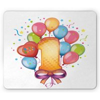 1st Birthday Mouse Pad, Vintage Theme Kids First Party with Balloons Stars and Dots Image Colorful, Rectangle Non-Slip Rubber Mousepad, Multicolor, by Ambesonne