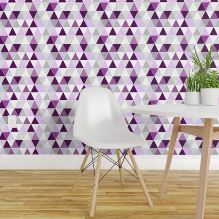 Removable Water Activated Wallpaper Plum Lavender Purple Triangle Mode