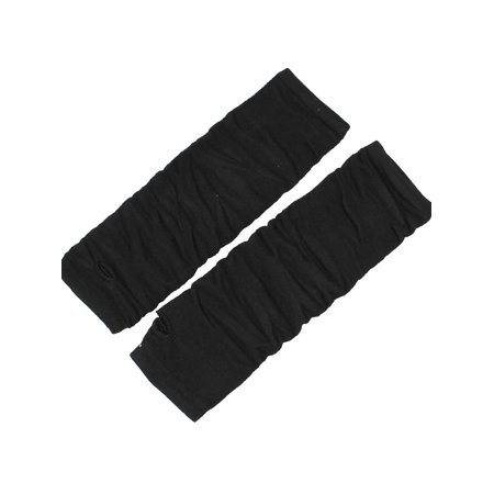 Black Elastic Acrylic Knitted Winter Arm Warmer Fingerless Gloves for Lady - Black Arm Warmers