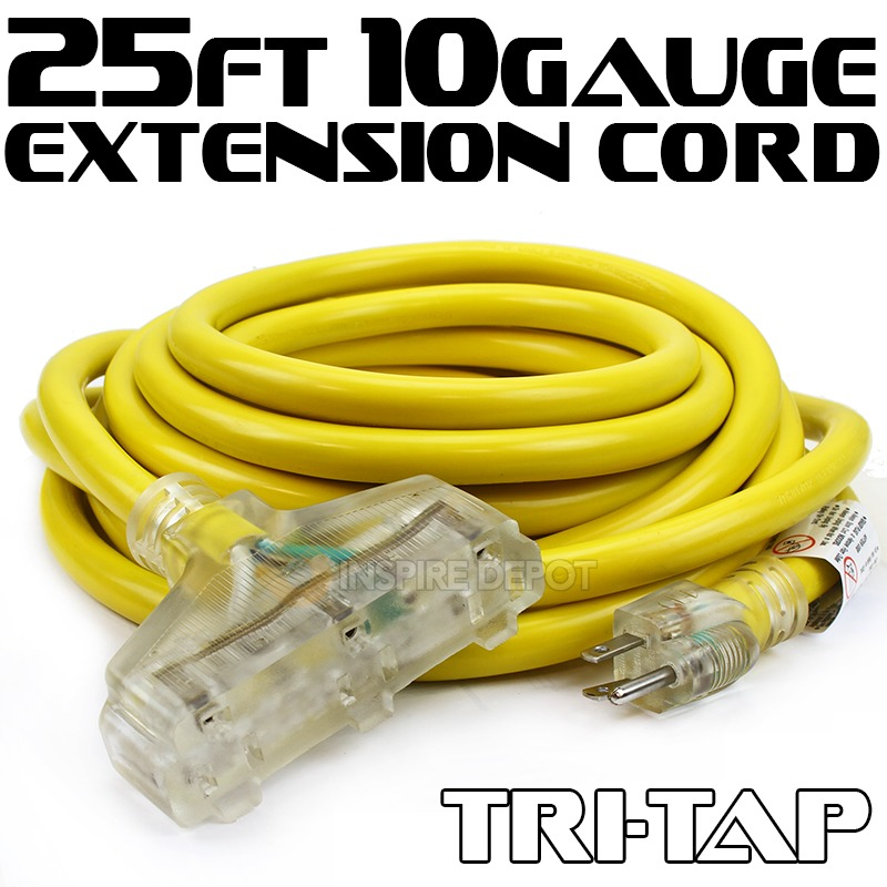 25' 10 Gauge Electric Extension Cord Tri-Tap 3 Prong Power Cable In/Outdoor UL
